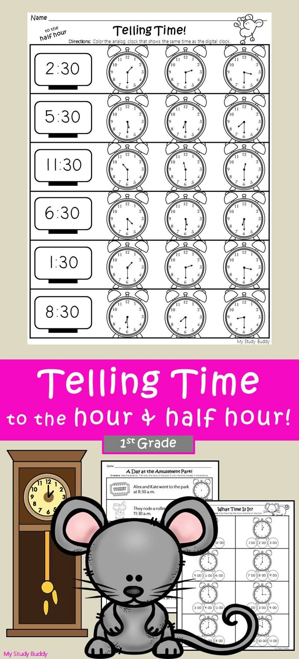 Telling Time To The Hour And Half Hour 1st Grade My Study Buddy