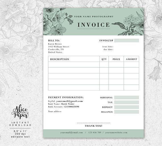 Invoice template, Photography invoice, Receipt template for