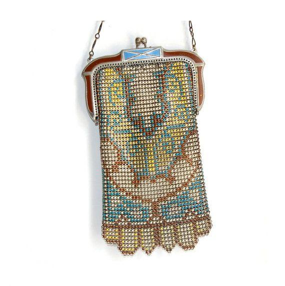 Whiting & Davis Mesh Enamel Flapper Purse Antique Art Nouveau Art Deco Vintage Bags and Purses Accessories iPhone Case Gift for Her c1930