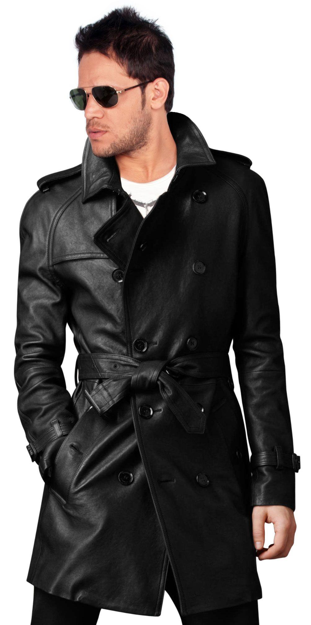 leather trench coat style homme leather trench coat mens leather trench coat et long. Black Bedroom Furniture Sets. Home Design Ideas