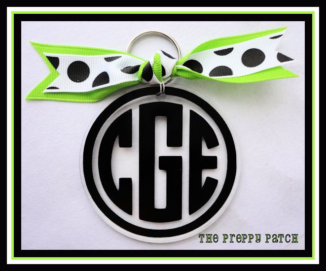 Monogrammed Personalized Acrylic Keychain Solid Color You