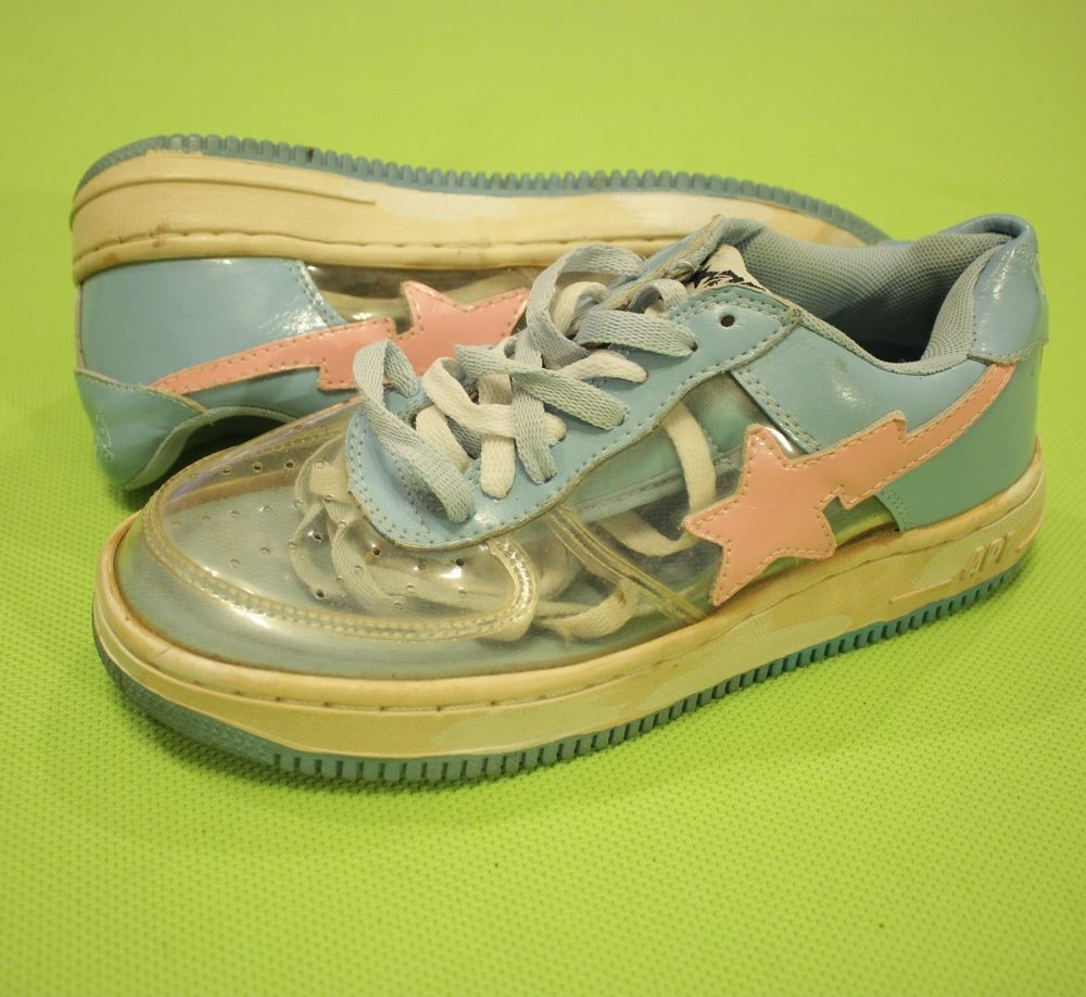 2d46478dce657c Bapesta a Bathing Ape Bape Foot Soldier Fs-001 Sz 4 Blue Pink Clear See  Through  Bape  AthleticSneakers