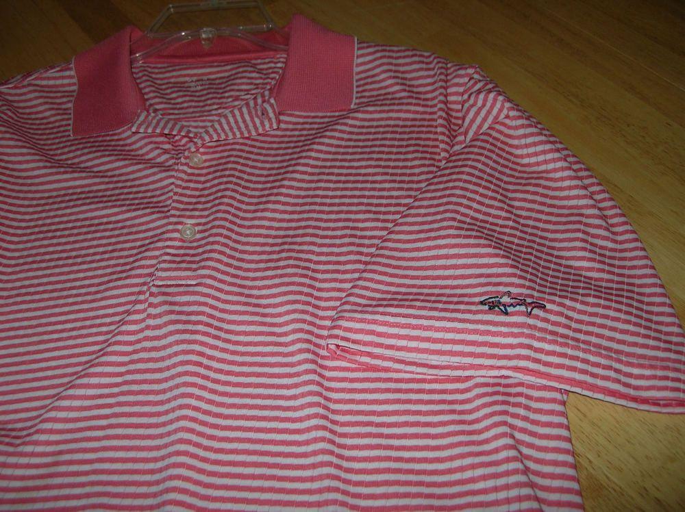 e47b6cdf Mens Golf Polo Shirt GREG NORMAN PLAY DRY size medium Polyester coral SHARK  LOGO - Shark