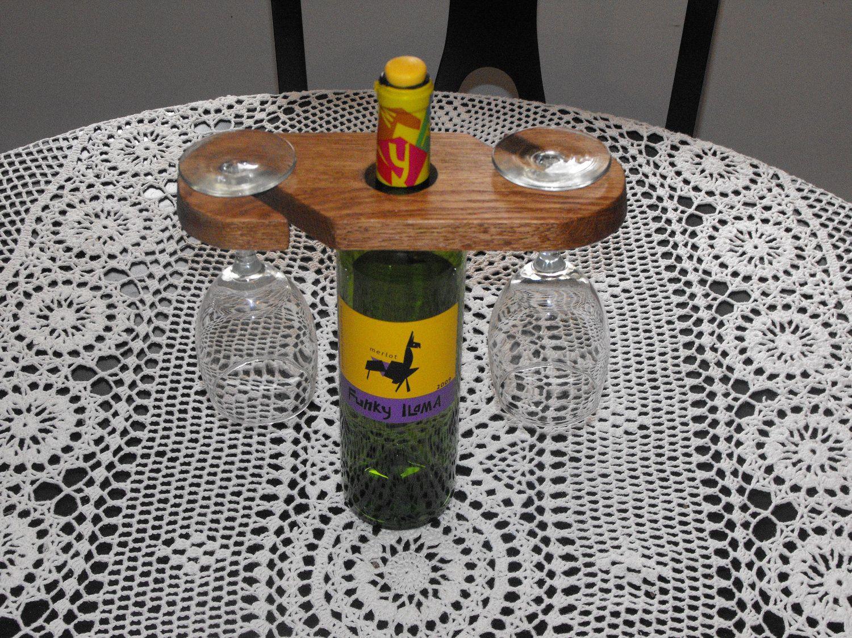 Diy wine bottles wine bottle glass holder wood handmade for Diy wine bottle storage