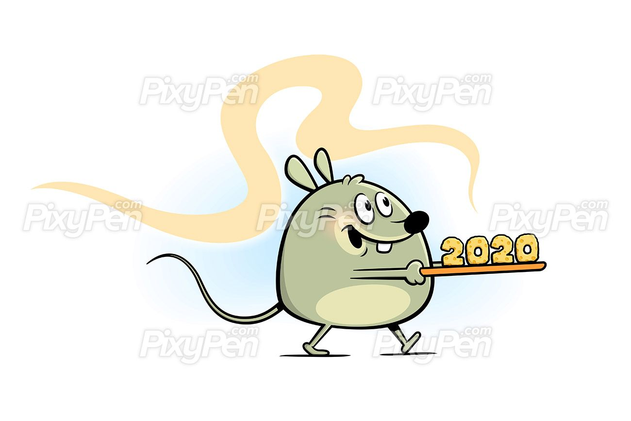 Year of the rat 2020, New Year cartoon clip art Vector