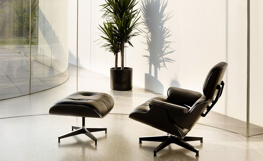 Charmant Mid Century Classic Ebony Lounge Chair U0026 Ottoman Set In Black Top Grain  Leather