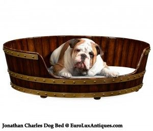 What a cutie! Relaxing in a new Jonathan Charles dog bed crafted in walnut in the form of an Irish oval peat bucket, based on an original from 1760,. We're taking orders in our gallery!  Dog not included :-) EuroLuxAntiques.com