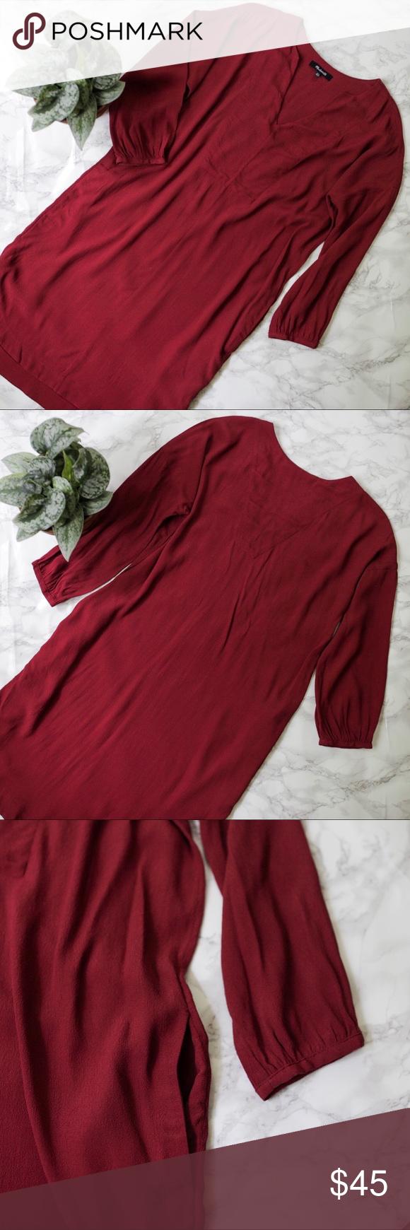 Madewell du jour sleeve tunic dress red xxs my posh closet