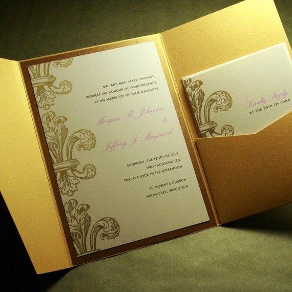 Decorative Wedding Invitation Badge 7: Fleur De Lis, Elegant Formal Pocketfold Custom Wedding