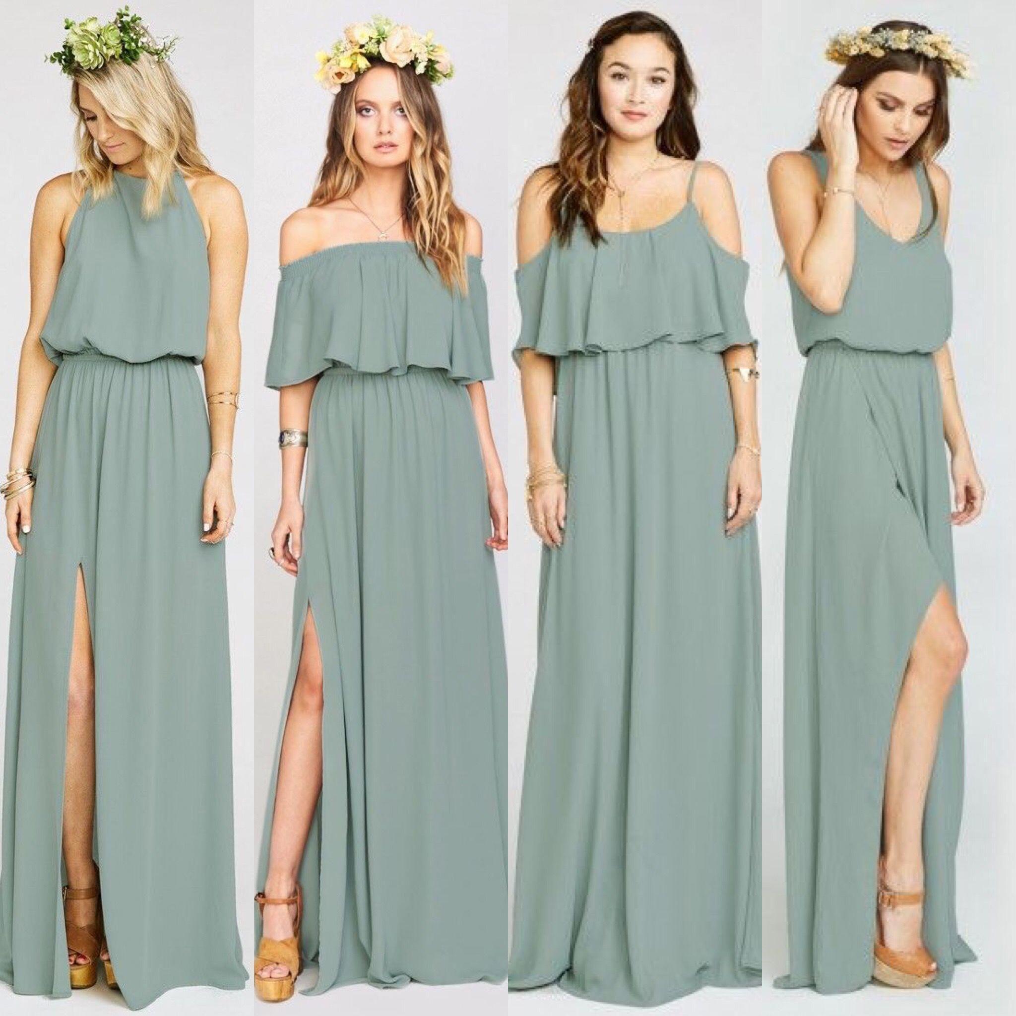 Bridesmaids  Bohemian bridesmaid dress, Sage green bridesmaid