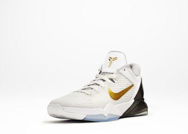 Nike Zoom Kobe VII 7 Elite Home System White Metallic Gold Black ... 125fc36ee
