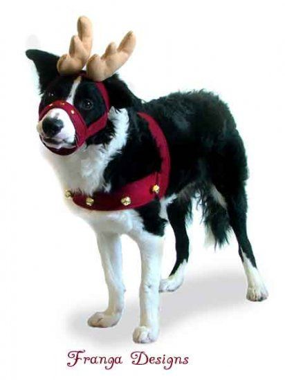 Reindeer Antlers Bridle And Jingle Bell Harness Dog Costume