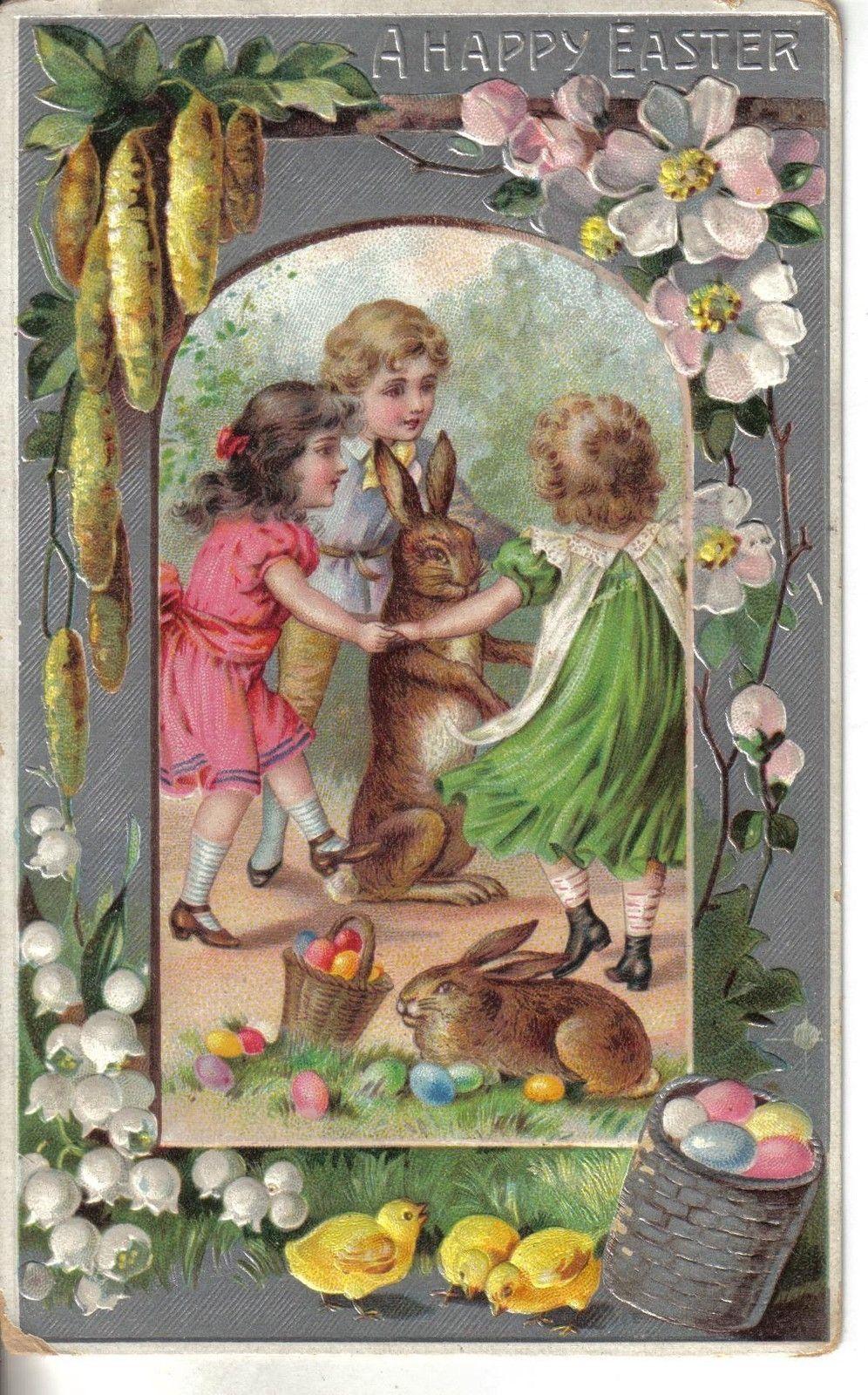 Children easter greeting bunny rabbit antique postcard