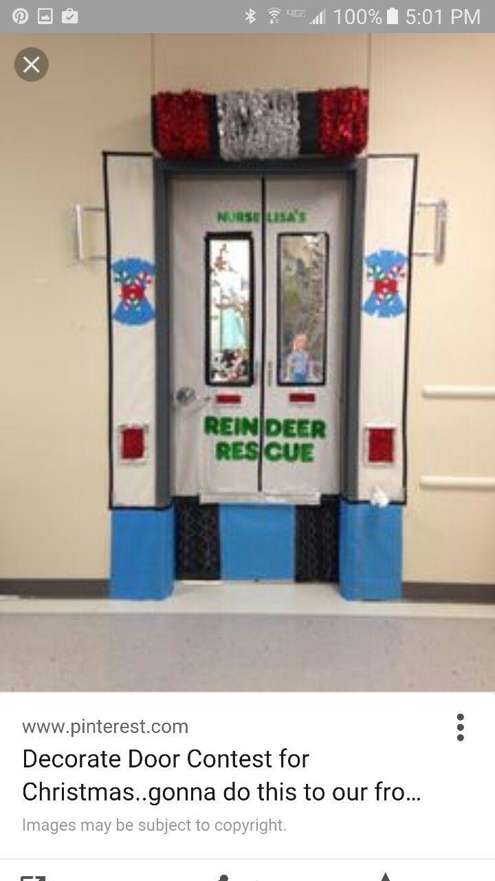 Front Door Reindeer Rescue School Nurse Christmas Door