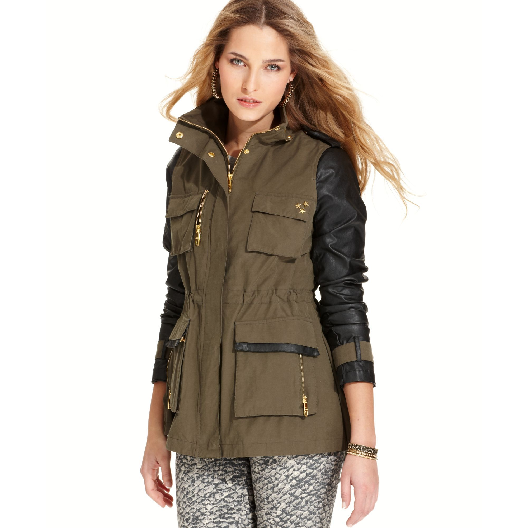 steve-madden-green-faux-leather-sleeve-anorak-jacket-product-1 ...