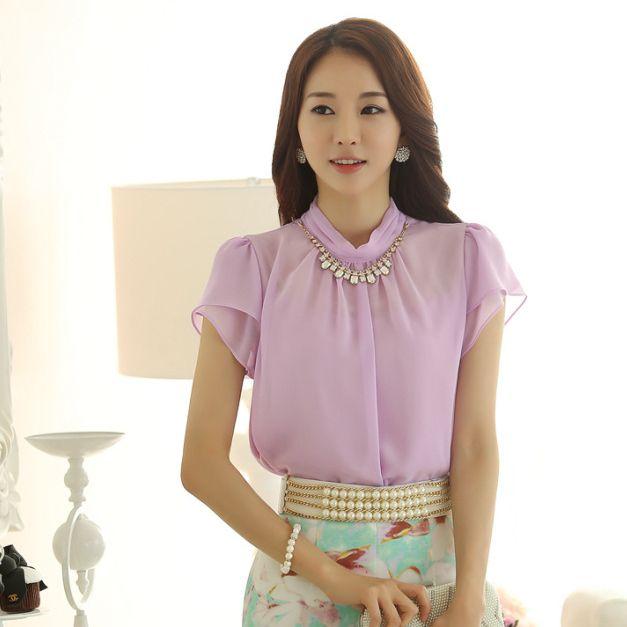 d28ac1a01 Encontre mais Blusas Informações sobre Elegante mulheres pétala manga curta  Chiffon blusas escritório verão roxo
