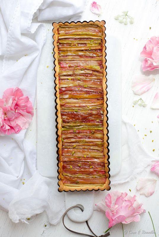 Rhubarb & pistachio tart
