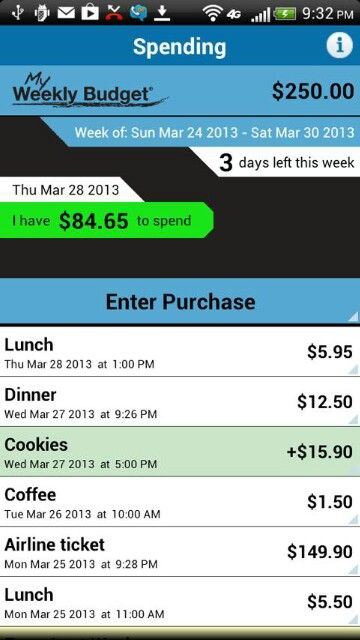 weekly budgeting app simple not as messy as a post it