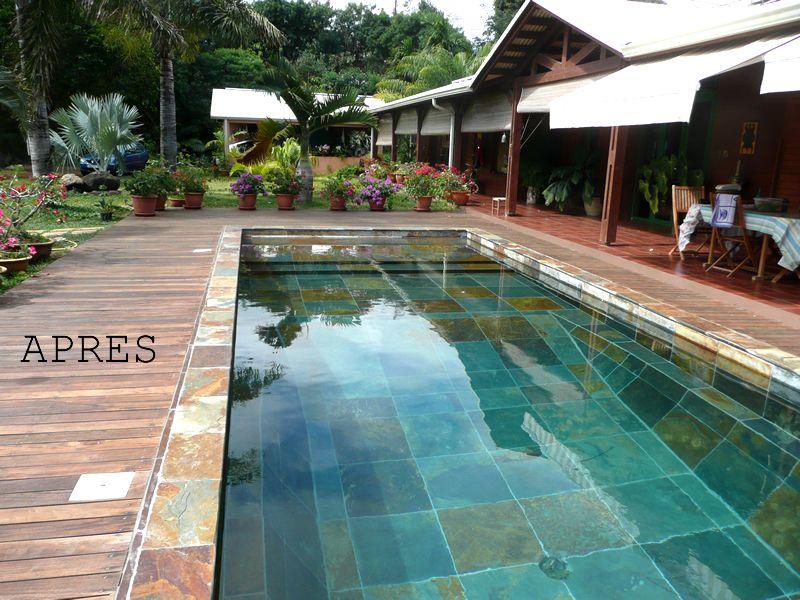 Pierre verte piscine ext rieur et bassins terrasse - Piscine verte et trouble ...