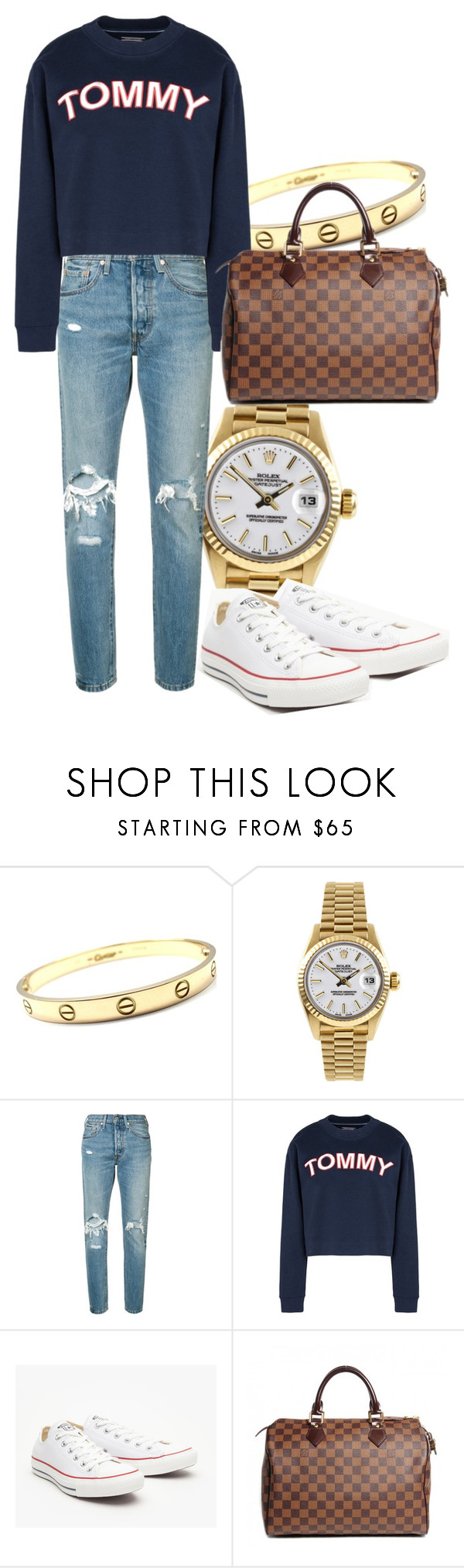 """Untitled #2004"" by fashionistaannie ❤ liked on Polyvore featuring Cartier, Rolex, Levi's, Tommy Hilfiger, Converse and Louis Vuitton"