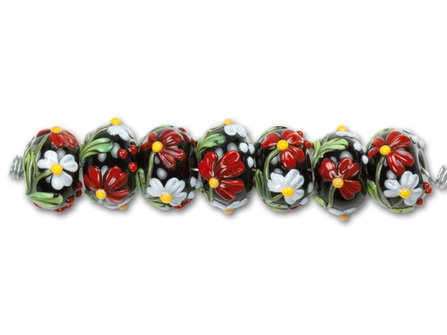 Purchase the grace lampwork mariaus bouquet roundel bead strand at