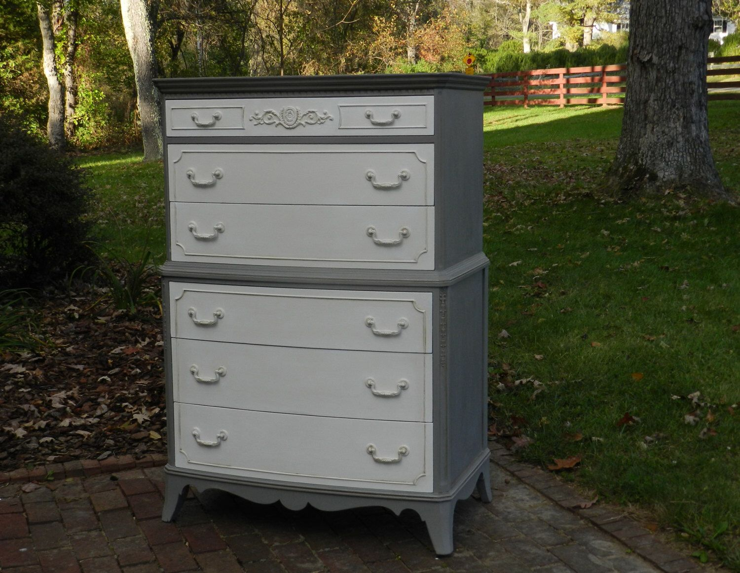 Vintage High Boy Hand Painted Dresser by HeritageHillShoppe on Etsy https://www.etsy.com/listing/258791461/vintage-high-boy-hand-painted-dresser
