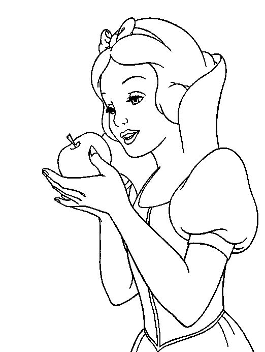 Snow White Hold Apples Coloring Pages Eric Color
