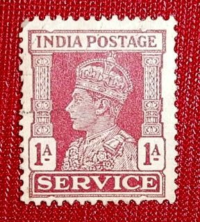 BRITISH INDIA STAMPS KING GEORGE VI 1 ANNA SERVICE ISSUE RED COLOR