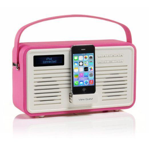 Küchenradio Retro ColourGen DAB+ Radio mit 30-pin-Dock - Hot Pink ...