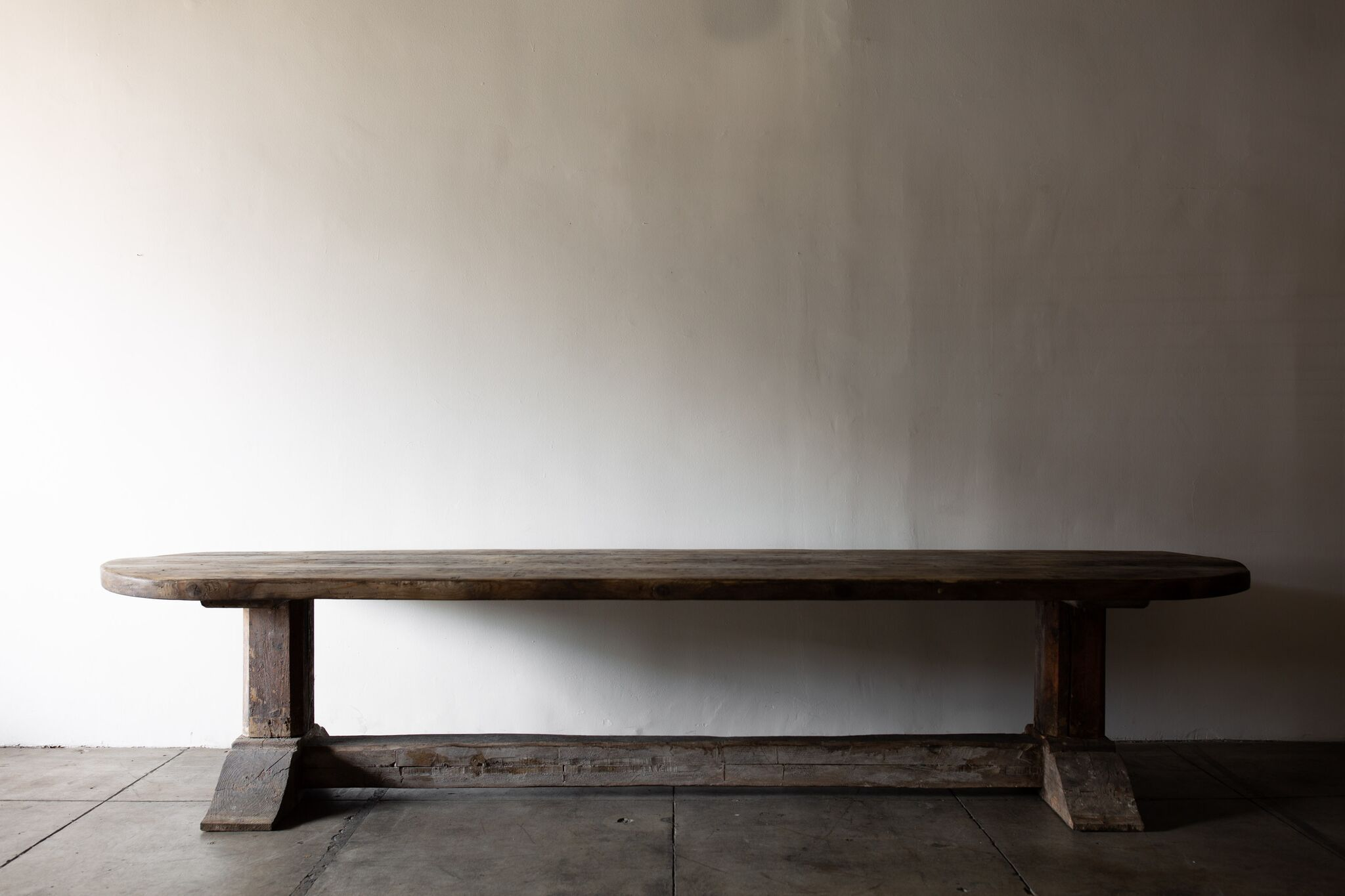 Massive Rounded End Dining Table France Late 18th C L144 X W43