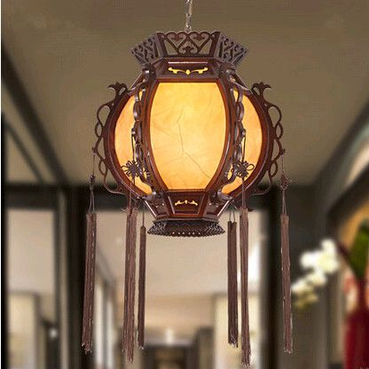 Traditional Chinese Style Classical Lantern Palace Pendant Lights Creative Carved Wood Art Lamp For Corridor Porch Stairs Myr0 Art Lamp Lights Wood Carving Art