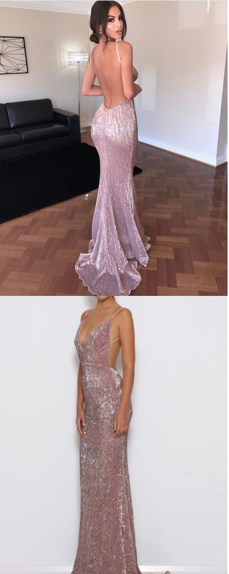 Spaghetti straps backless sequined sweep train prom dress open back