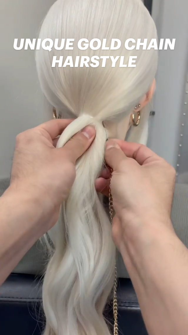 UNIQUE GOLD CHAIN HAIRSTYLE