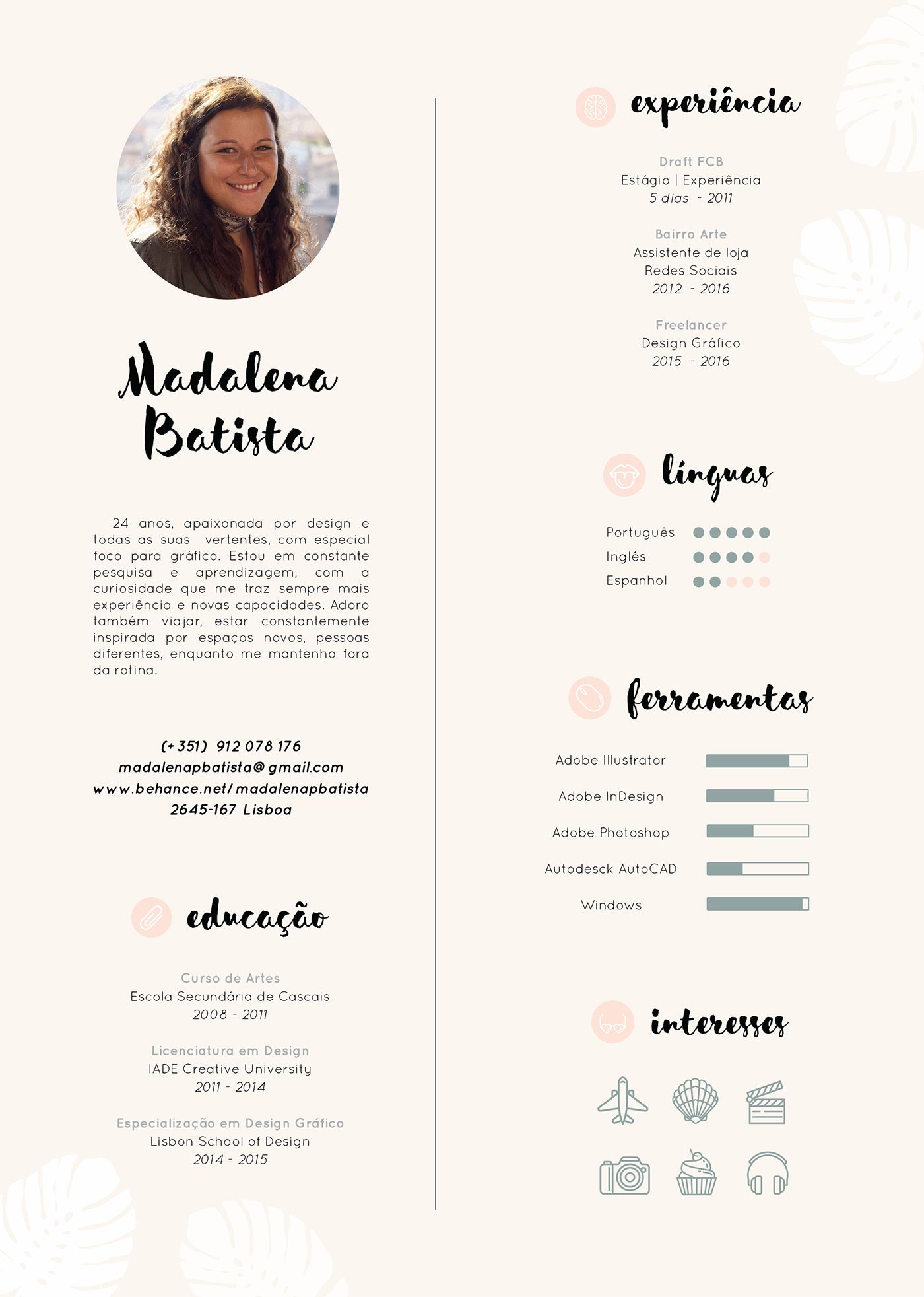 Resume Madalena Batista On Behance Modele De Cv Creatif Cv Creatif Mise En Page