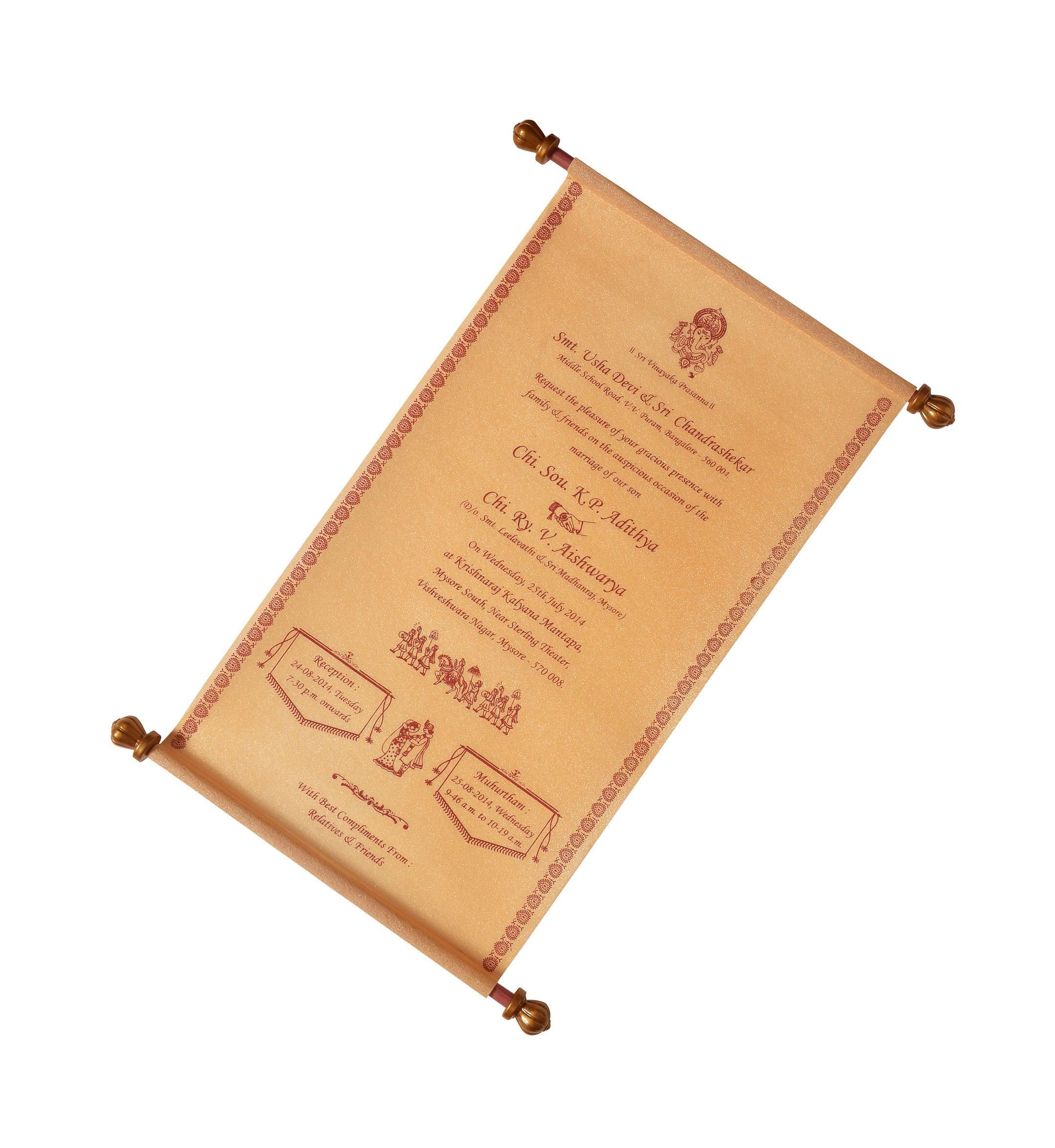 Classy Scroll Wedding Card-KNK1622