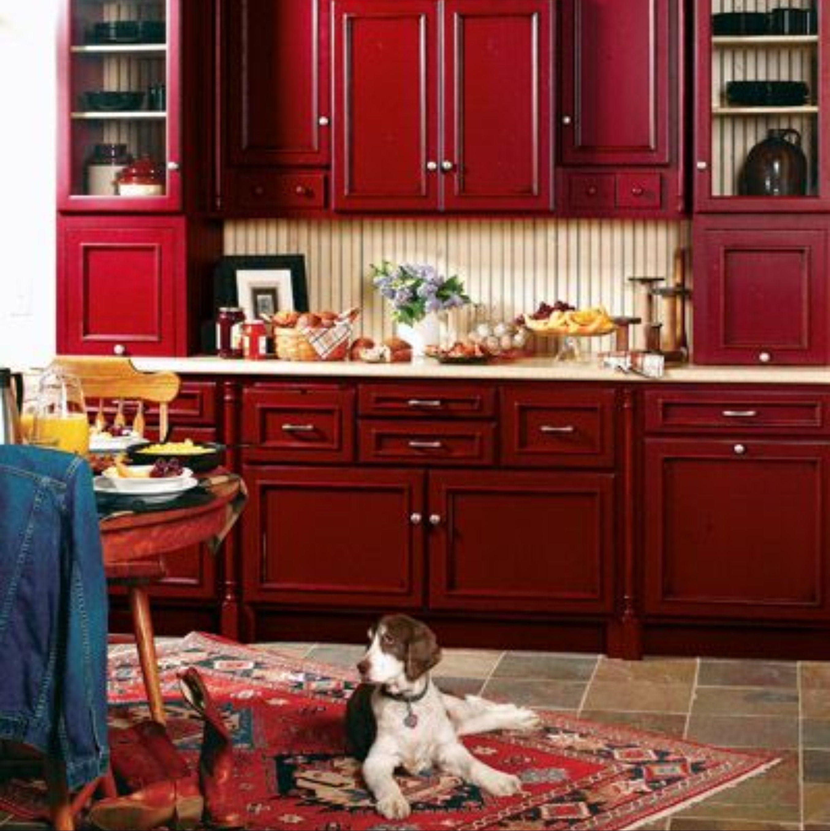 4 Rich Jewel Tones For A Gem Of A Kitchen Red Kitchen Cabinets Red Kitchen Red Cabinets