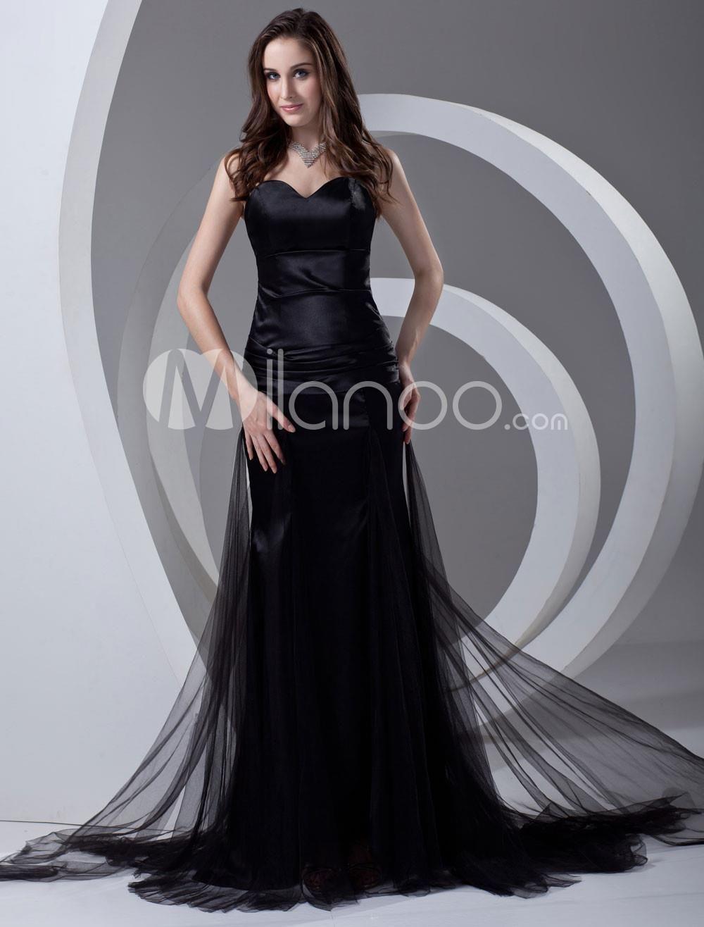 Elegant black sweetheart sexy evening dress elegant black