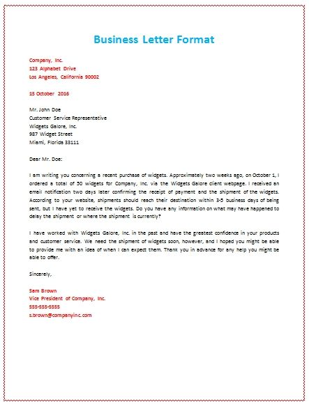Format Of A Business Letter Sample  PetitComingoutpolyCo