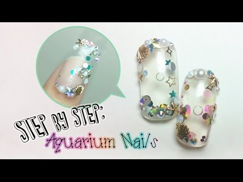 How To 아쿠아리움네일 Aquarium Nail Tutorial Step By With Gel Version