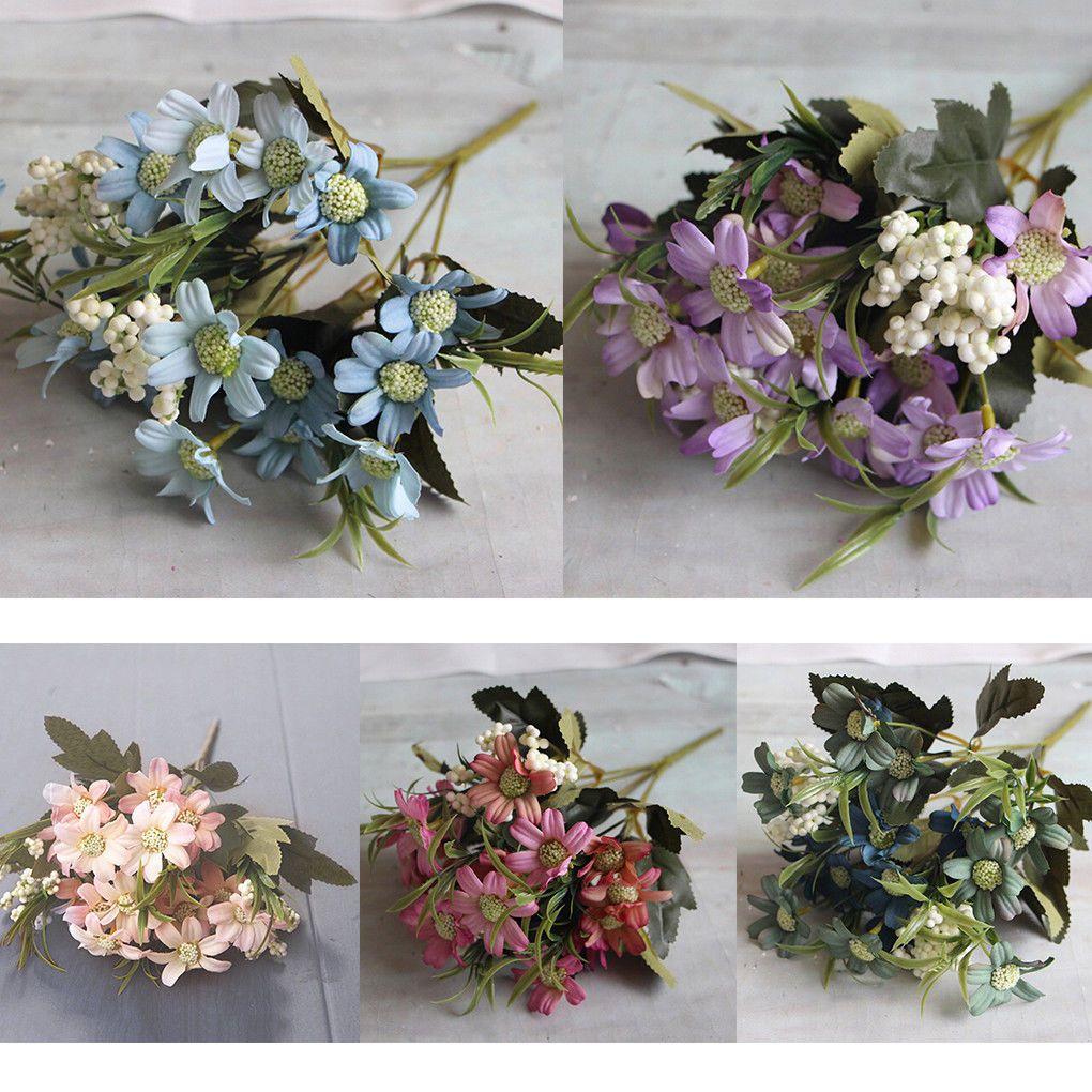 15head Artificial Fake Silk Daisy Flower Bouquet Home Wedding Party