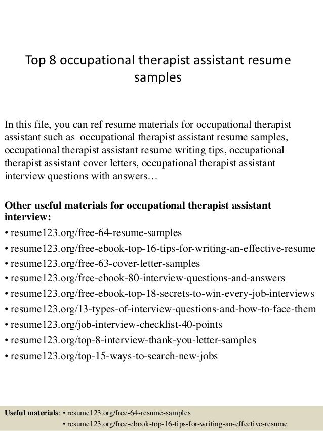 top occupational therapist assistant resume samples sample Home - ot assistant sample resume