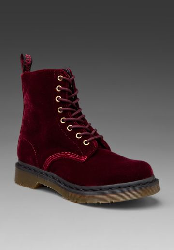 91172f135c32b Dude, cherry red velvet Doc Martens. $130. This is me. I'm a boot ...