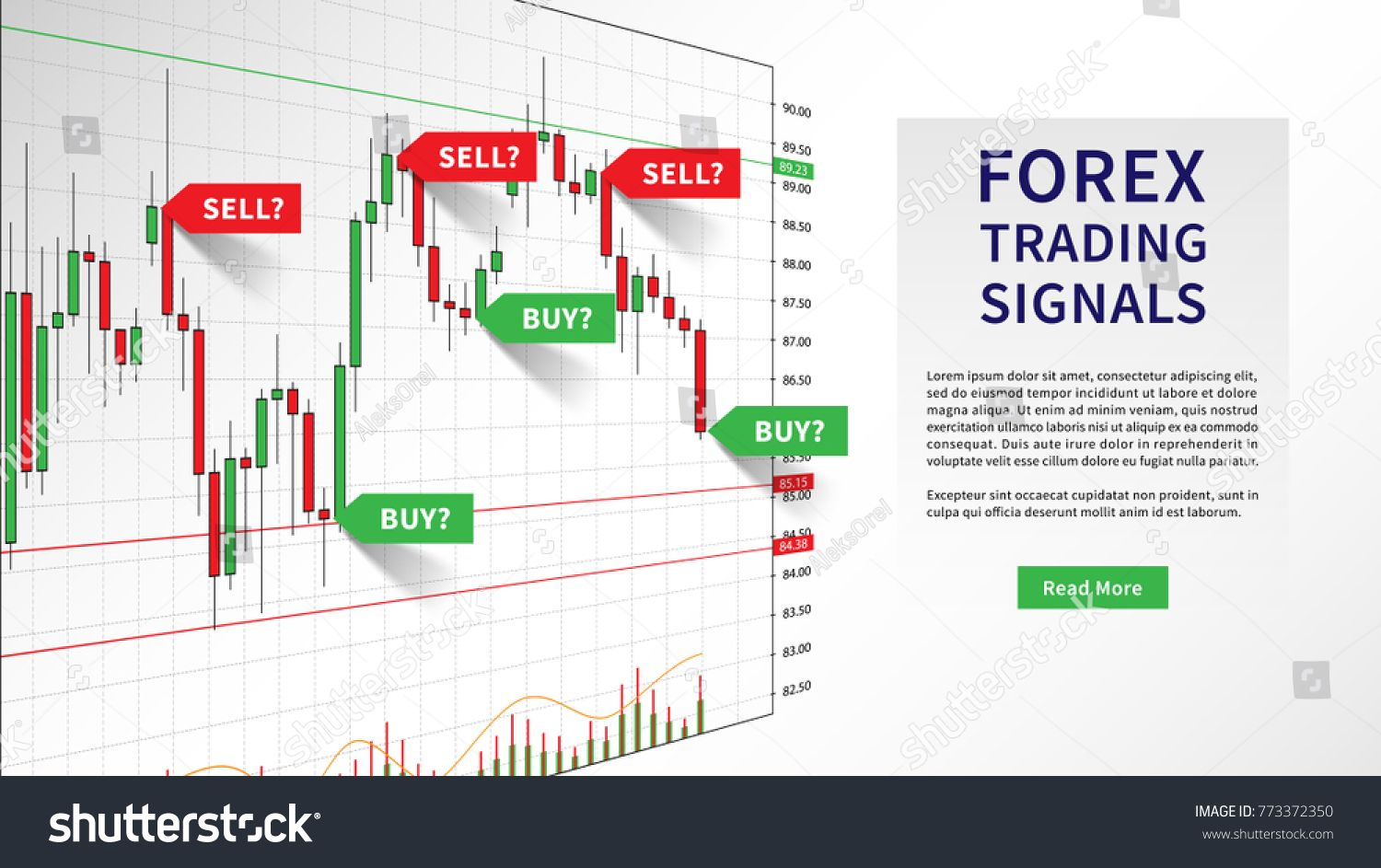 Forex Trading Indicators Vector Illustration Online Trading Signals To Buy And Sell Currency On The Chart Conc Online Stock Forex Trading Forex Trading System