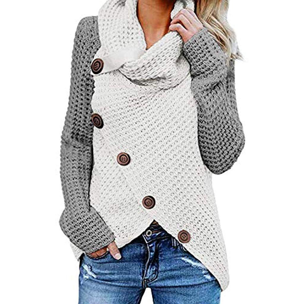 Damen Sweatshirt Pullover Cardigan Sweater Strickjacke Pulli Winter Hoodie PD