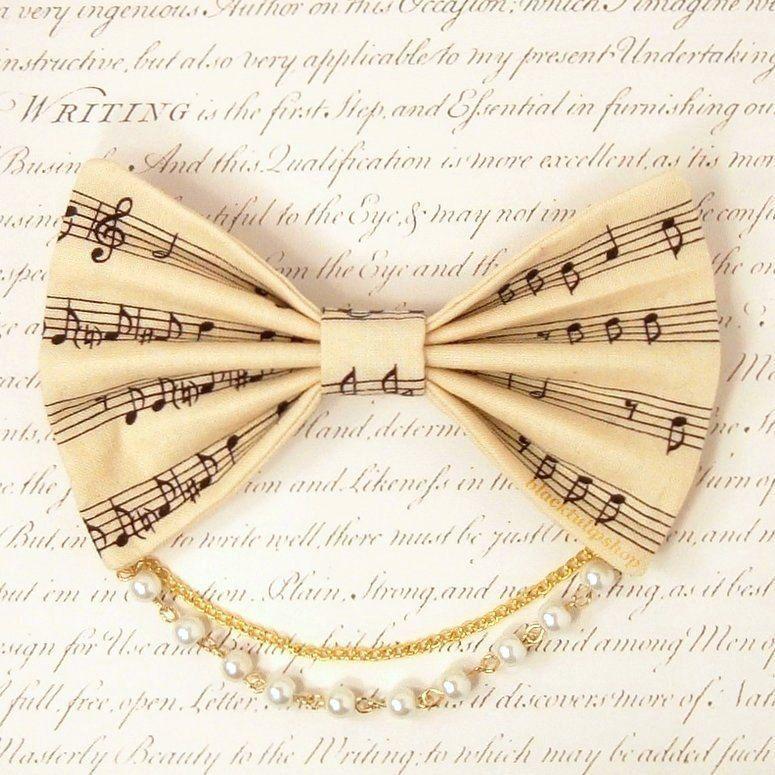 Lolita Fabric Hair Bow Clip Barrette Kawaii Cream Music Sheet Musical Notes White Pearls Gold Chain