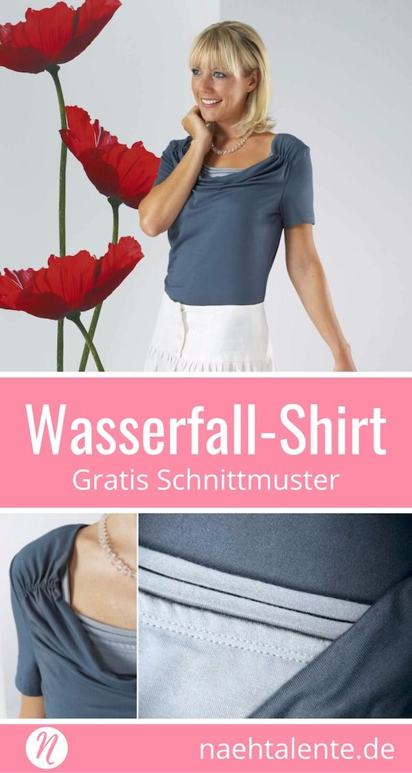 Wasserfallshirt im Lagenlook - Gratis Schnittmuster Gr. 34 - 46 | SM ...