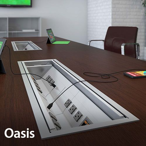 Oasis Conference Table Trough For Power Data And AV Cable - Conference table with power and data