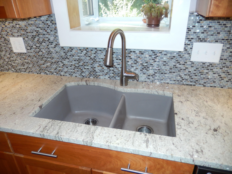 Blanco Silgranit Sink In Truffle. Stone/glass Mosaic Backsplash Tiles.  River White Granite