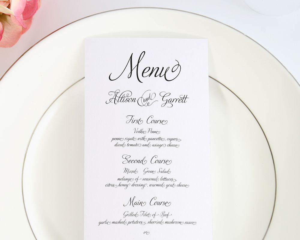 Fairytale Script Wedding Menus  Wedding Dinner Menu Wedding