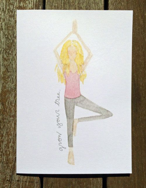 Tree Pose Yoga Pose Greeting Card Available Here Https Www